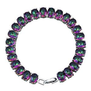 SZ0057 New Design Rainbow Muticolor Crystal Bracelets Jewelry Evening Dress Matching Bracelets & Bangles Lady Gift 200925