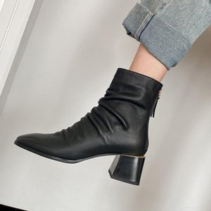 Elegant Square Toe pleated Boots High Heels Dancing Shoes Woman Genuine Leather Winter Warm Women Short Ankle Boots