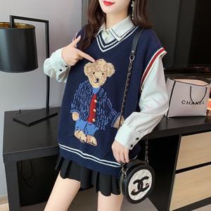 2020 Teddy Bear Pattern Donne Maglione Donne Primavera Autunno Gamiglia di lana Sleeveless Collo V-Collo a V Games Maglia Pollover Femmina Jumper Pull Femme