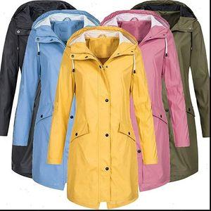 Women Outdoors Pockets With Coat Waterproof Jacket Rain Hooded Drop Ladies Lightweight Hooded Raincoat 5XL S Windbreaker Shipping Tkdai