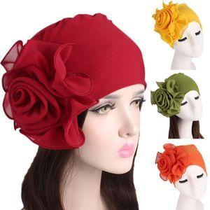 Fashionable and stylish design Women Ladies Retro Big Flowers Hat Turban Brim Hat Cap Pile Cap Lightweight and comfortable