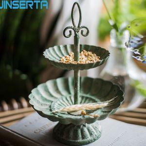 Jinserta 2-яиряный старинный металлический поднос ювелирных изделий пластины витрины антикварные десертные закуски Домашнее настольные косметические подсветки организатор Y1119