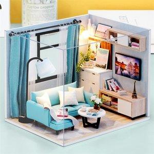 Cuadrosbee Muñeca Muebles Muebles Miniatura Dollhouse DIY Miniatura Casa Juguetes para niños DIY Dollhouse Regalo para cumpleaños H18-4 LJ200909