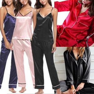 Womens Silk Satin Pajamas Pyjamas Ladies PJS Loungewear Sleepwear Sets Nightgown 2020 new
