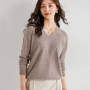 Sparsil Autumn Winter Women Wool Sweaters Solid Color Soft Warm Thicken Jumpers V-neck Elegant Fashionable Knitted Top Pullovers