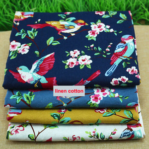 Cotton and cotton, female flower printing, cotton and linen, 100 cm 140 cm, bird printing, Chinese national clothing