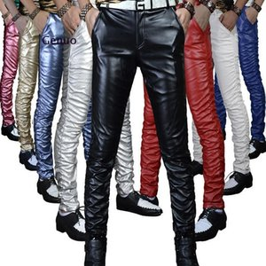Quality Pu Winter Line Sexy Red Slim Tight Male Leather Pant Men Motorcycle Black Skinny Biker Trouser Leather Jogger Blue
