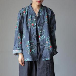 Johnature New Floral Print Fashion All match Women Cardigan Shirt 2020 Autumn Simple Vintage Cotton Linen 4 Color Female Shirts