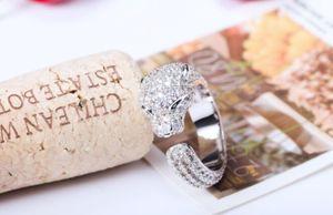 Modisch Euramerican Gold Set mit Diamant Leopard Kopf Armband voller Zirkon Platinfrau Ring Ring Hot Style