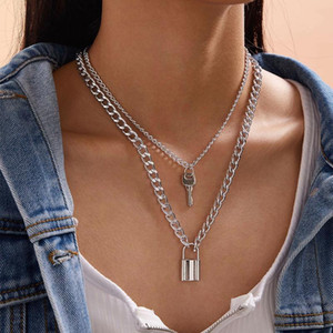 2021 new fashion punk double chain golden lock key pendant statement choker necklace for women girl bridal party jewelry gift