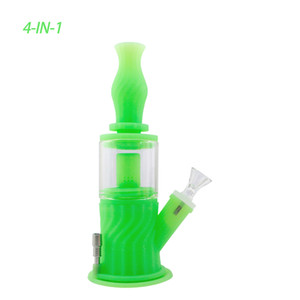 Waxmaid Multi Function 4 in 1 Water Pipes Silicone Water Pipe Glass Bongs With 6 Color Oil Rigs Smoking Pipe Glass Pipe