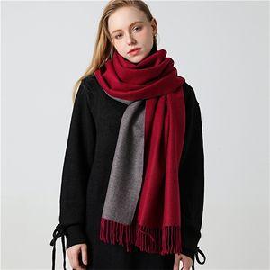Winter Cashmere Scarf Women Thick Warm Shawls Wraps Lady Solid Scarves Fashion Tassels Pashmina Blanket quality foulard New 201104