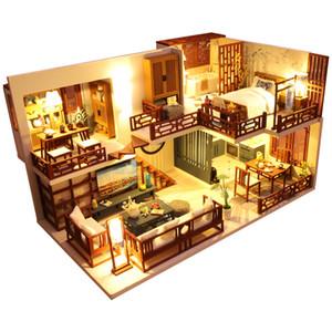 Cutebee Diy Dollhouse Casas de muñeca de madera Casas de muñecas miniatura Kit de muebles Juguetes para niños Año Nuevo Regalo de Navidad Casa M025 C1204