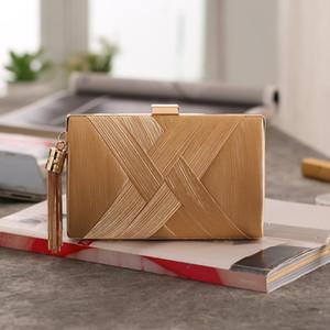 woman luxurys designers bags New folding sateen handbag cylindrical woven metal tassel hand twill evening dress with bag ladies evening bag