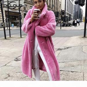 Pink Long Teddy Bear Jacket Coat Women Winter 2020 Thick Warm Oversized Chunky Outerwear Overcoat Women Faux Lambswool Fur Coats T200915