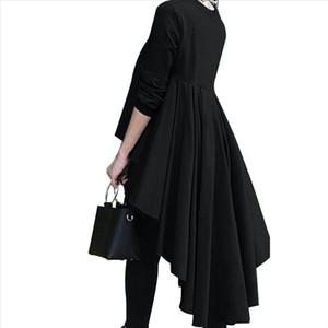 Goocheer Fashion Tuxedo Long Tops T Shirt Womens Long Sleeve Asymmetrical Front Short Back Pleated High Waist T shirts