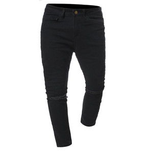 2021 Mens Jeans New Hole Slim Trousers Denim Elastic Skinny Cotton Male Streetwear Hiphop Personality Male Pencil Pants