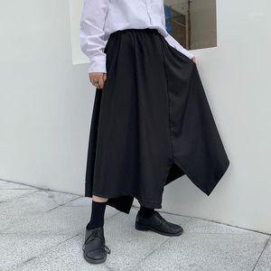 Мужские брюки мужские Летние брюки Нерегулярный дизайн Cлотфики юбка стилист черный Yamamoto Fashion1