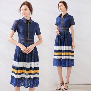 Temperament Lace Dress Short Sleeve for Women High-end Prom Evening Pleated Dress Summer Mini Dress Fashion Noble Lady Dresses
