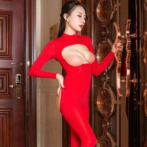 Alta elasticidad Slim Tight Erotic Monos Sexy Smooth Women Ver a través del mono CLUB DE ADULTULO CLUB DE SEXO HUELZADO OUT OUT MODOS DE PORNO