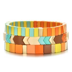 New Wholesale Set Enamel Tile Bracelet Women Customize Bracelets Femme Couple Pulseras Mujer 2020 Jewelry Accesorios Y1119