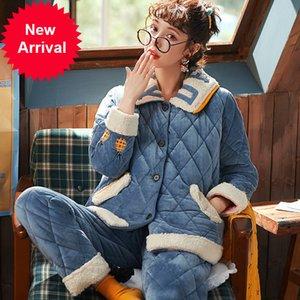 Mimi Couche Épaississement Coral Fleece Pyjamas Femmes Hiver Clips MS Beau Beau coton chaud et laine Flanelle LeisureWear Qiu Dong