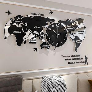 الإبداعية العالم خريطة كبيرة ساعة الحائط الحديثة الاكريليك 3d الساعات جدار ديكور المنزل غرفة المعيشة صامتة جدار ووتش آلية SAAT FZ592 201202