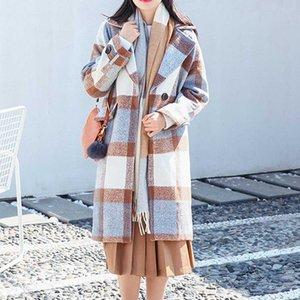 SAGACE 2020 Casual Woolen Jacket Coat Women Work Plaid Vintage Winter warm Office Long Sleeve Button Plus Size Long Outwear Y1112