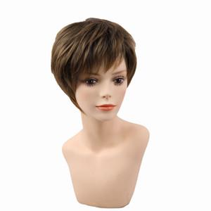 Блондинка короткие женские стрижки пухлые прямые натуральные короткие синтетические парики для волос для американской Африки Женщины