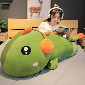 Nice Creative Cute Long Dinosaur with Earphone Plush Toys Stuffed Cartoon Dragon Doll Cartoon Sleep Pillow Kids Baby Girl Gift Z1127