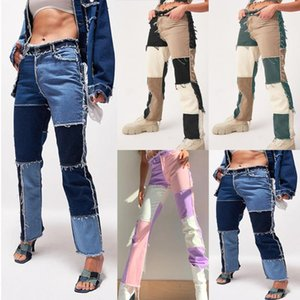 Patchwork Skinny Straight Bein Jeans Frau Hohe Taille Denim Hose Sexy Farbe Block Vintage Blau Braun Streetwear Hose # 6677