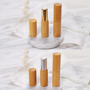 Free shipping high quality 3.8g bamboo lipstick tube 12.1mm gold color aluminum DIY 12.1mm wax bamboo tube packing bottle