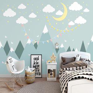 Özel 3d duvar duvar kağıdı modern basit yıldızlı gökyüzü Vadisi karikatür çocuk odası fresco yaratıcı sanat papel de parede sala
