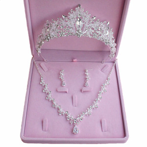 Bridal Accessories 2021 Silver Crystal Bridal Jewelry Sets Necklace Earrings Crown Wedding Jewelry Accessories Christmas Gift
