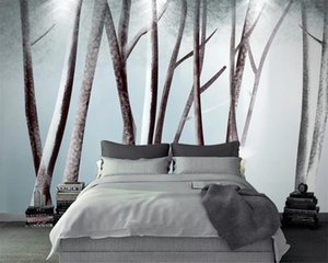American Vintage 3d Wallpaper Nordic modern minimalist forest abstract tree decoration background wall 3d Photo Wallpaper