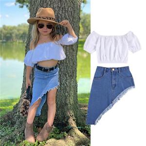 1-6Y Fashion Kids Girls Clothes Sets White Short Sleeve Off Shoulder T Shirts Tops Tassel Blue Denim Irregular Skirts Kids Suit