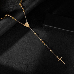 Moda Hip Hop Rosary Ora Cuenta Jesús Cruz Collares largos Colgantes Collar de cuentas para hombres Mujeres 263 J2