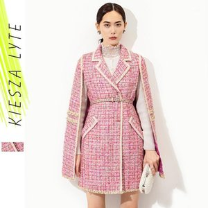 Runway Fashion Pink Cape Tweed Coat Office Lady Vintage Midi Bat-sleeve Cloak Jakcet 2020 Autumn Winter Women's Clothing Outfit1