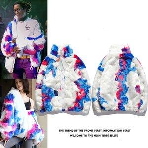 High street fashion brand rendering fur men's and women's loose jacket ow tie dye couple's zipper coat man