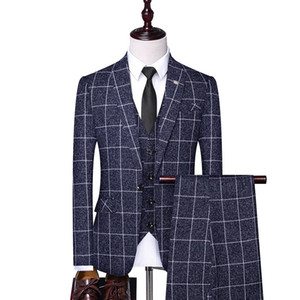 2019 Men's Business Casual Dress Single-breasted Summer Clothing Boutiquehigh quality Wedding Banquet  Suit Three-piece Suit.