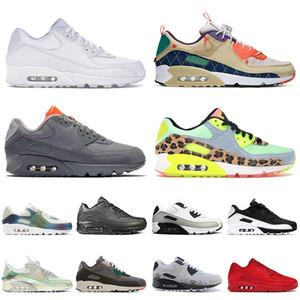 nike air max airmax 90 90s Yüksek Kaliteli Erkek Bayan 2021 Yeni Spor Koşu Ayakkabıları Boyutu ABD 12 Üçlü Beyaz Yosun Yeşil Nik HavaAir MaxMax Sneakers Eğitmenleri 36-46