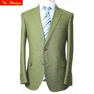 Custom Tailor Made Men's Bespoke Trajes Negocios Formal Warke Ware Bespoke 2 pieza Chaqueta Abrigo Pantalón Verde Tweed Wool Slim Fit1