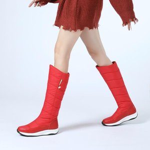 new winter warm plush down+leather knee high boots for women comfy flat snow boots platform woman long casual shoes