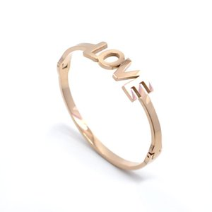 Fysara Simple Love Letter Bangles For Women Stainless Steel Rose Gold Color Wristband Bangles Romatic Cute Jewelry sqcDzZ