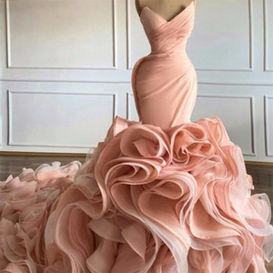 Luxury Pink Evening Dresses Sweetheart Tiered Skirt Ruffles Mermaid Prom Gowns Sweep Train vestido de novia