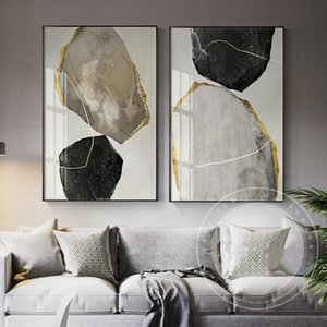 Abstract Yellow and Black Blocks Canvas Painting Fashion Poster Print Strange Thing Wall Art for Living Room Cuadros Home Decor