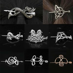 Viking Hairpin Celtics Knots Crown Vintage Metal Dragons Slide Hair Stick Rune Hair Clip Jewelry Accessories for Women Girl