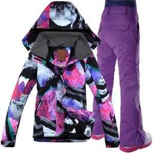 GSOU Snow Women лыжные костюмы зимние сноубордирование куртки и брюки набор женских лыжных пиджак и брюки установить снег куртку зимнее лыжное пальто 201203