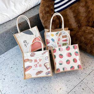 500pcs linen tote bags Korean version women handbags cute orange strawberry bread zipper bags girls cosmetics storage bags
