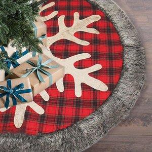 122*122cm Christmas Tree Skirt Burlap Plaid Christmas Tree Skirt with Snowflake and Plush,Xmas Holiday Decorations